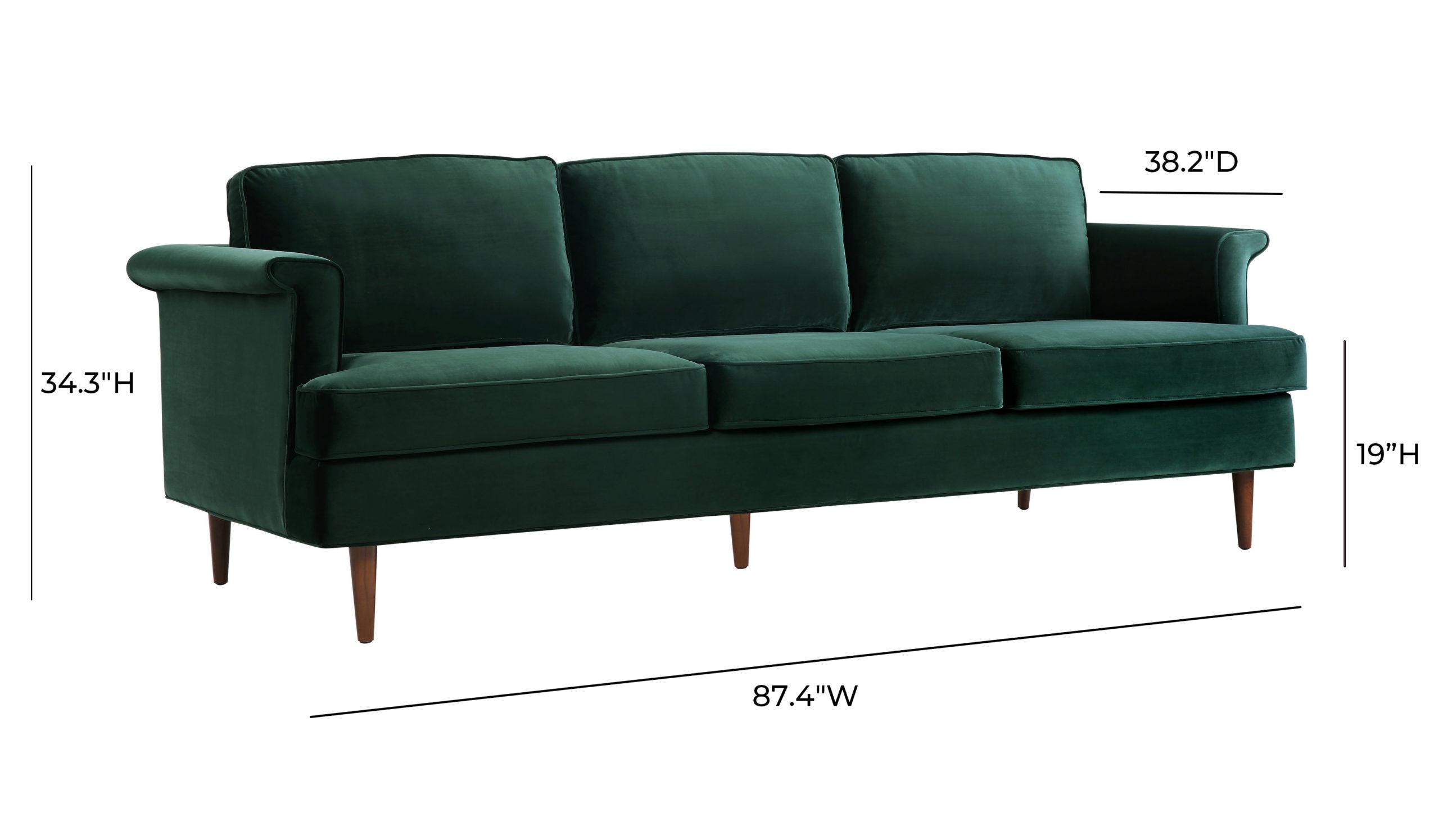 Porter Forest Green Velvet Sofa Tov Furniture