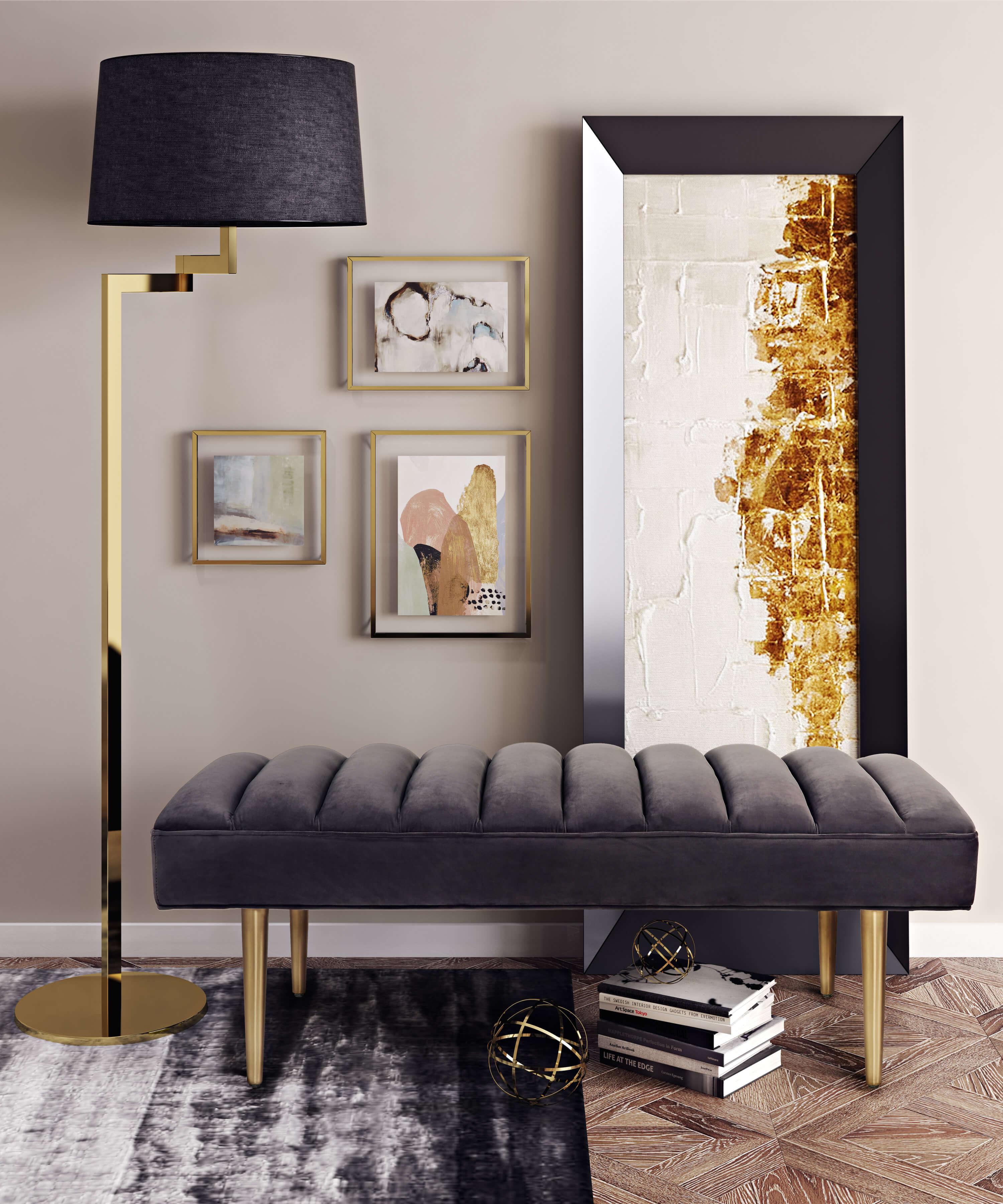 Jax Grey Velvet Bench Tov Furniture
