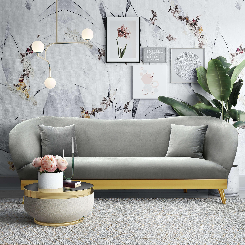 Chloe Grey Velvet Sofa Tov Furniture