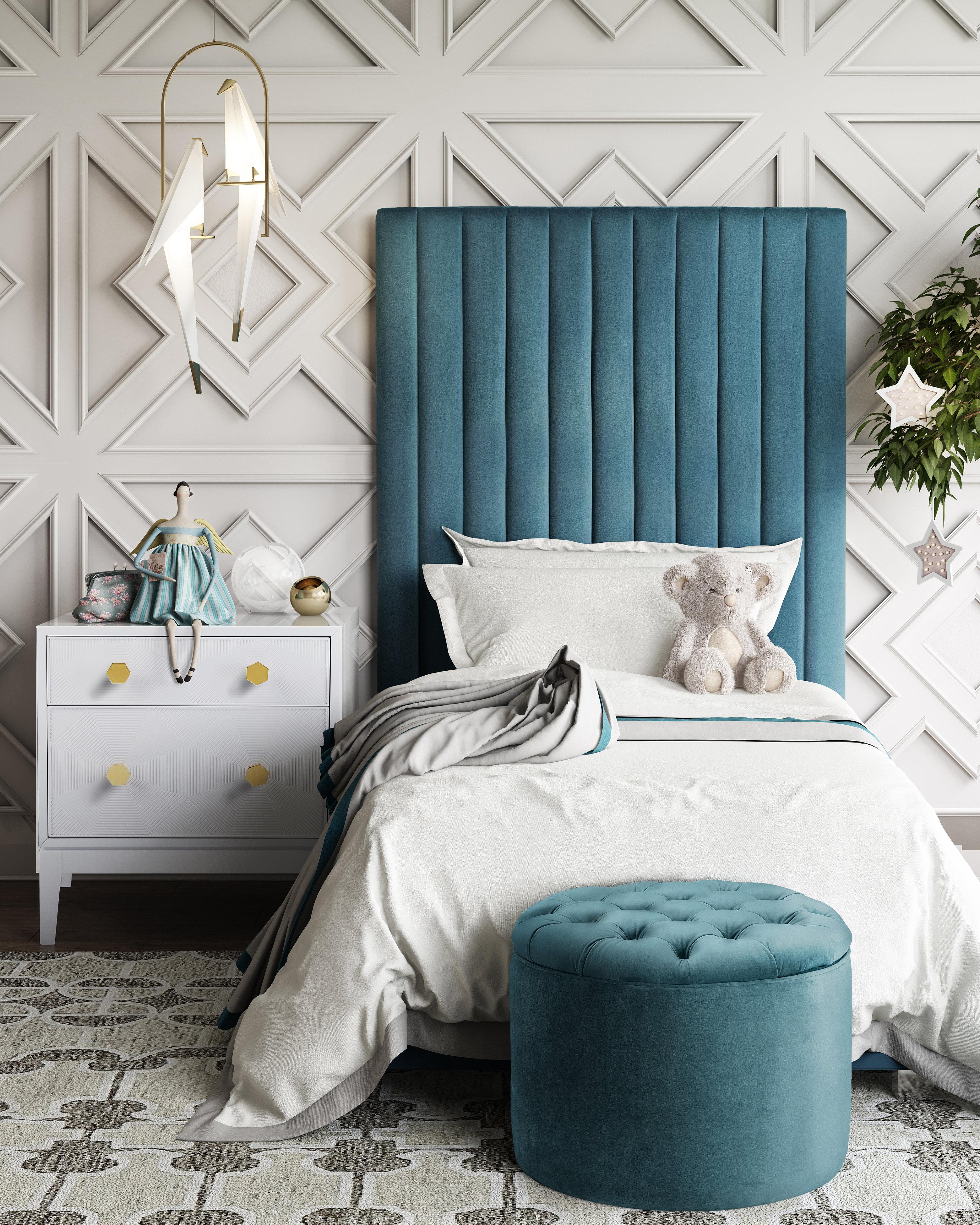 Queen Sea Blue Velvet Storage Ottoman Tov Furniture