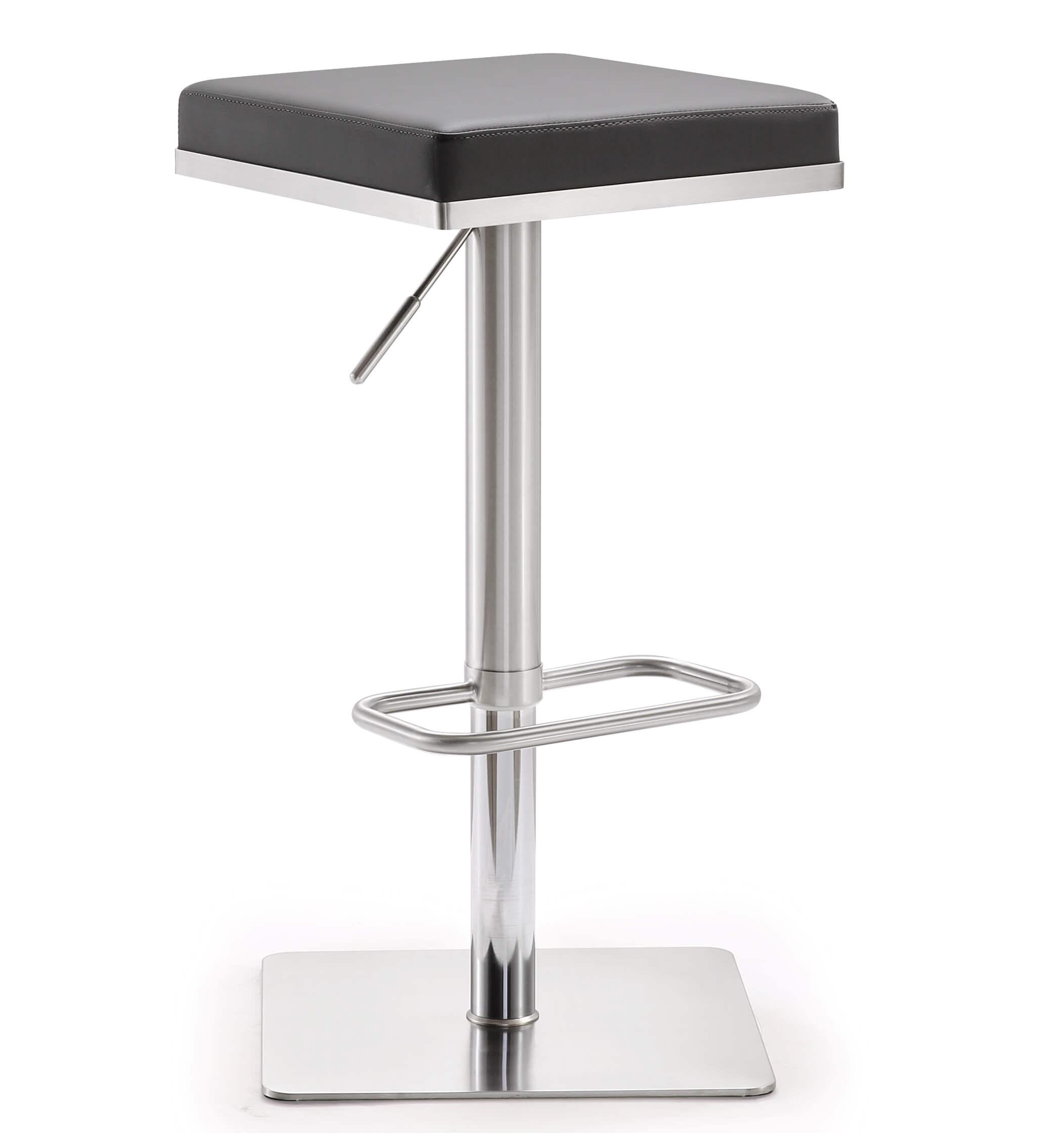 Bari Black Stainless Steel Barstool Tov Furniture