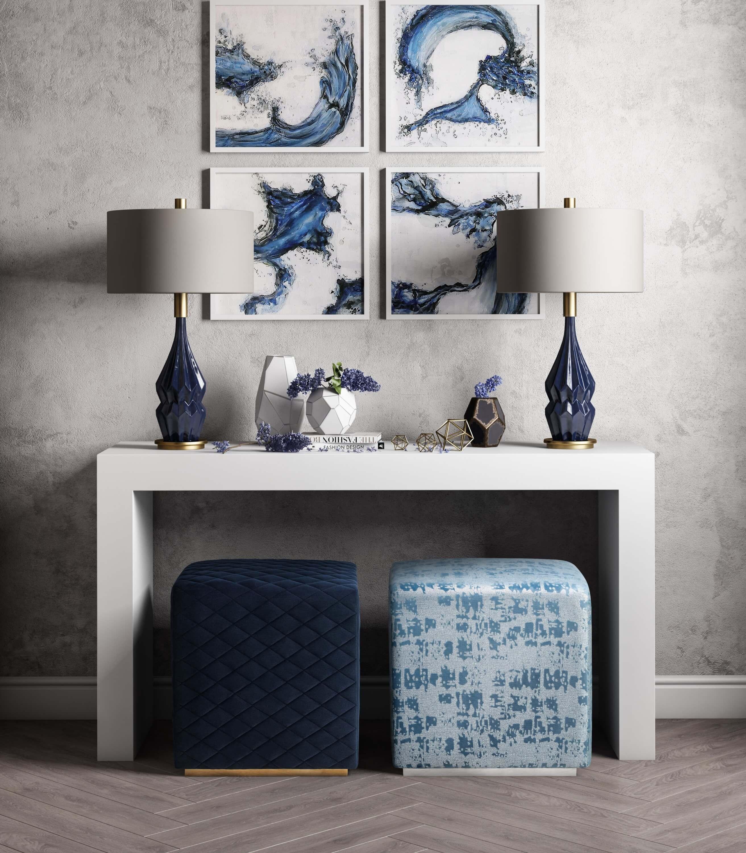 Kent Blue Textured Velvet Ottoman Tov Furniture
