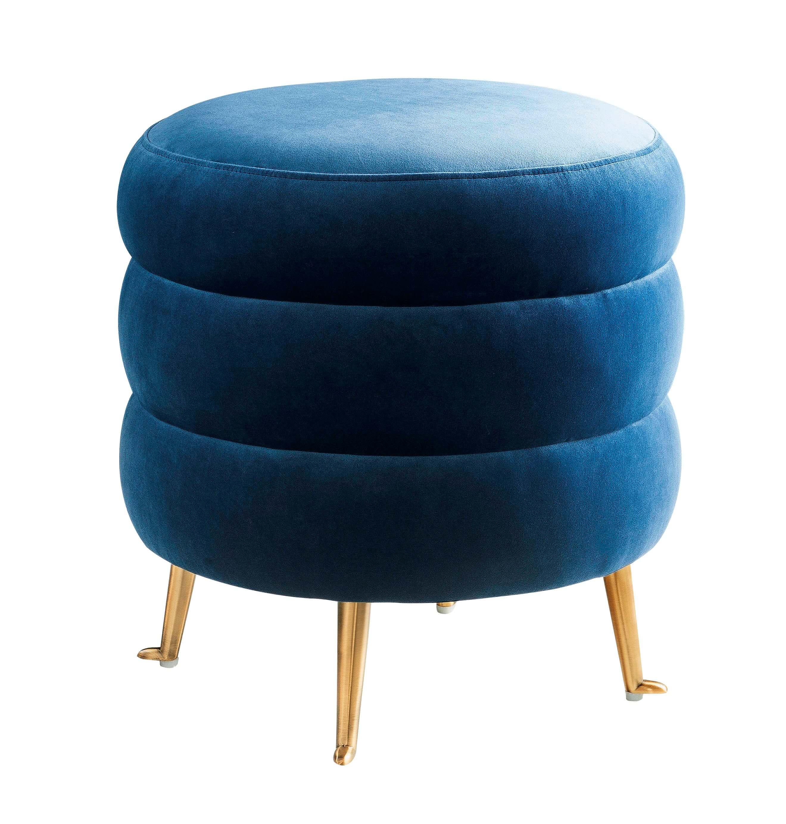 Ladder Blue Velvet Ottoman Tov Furniture