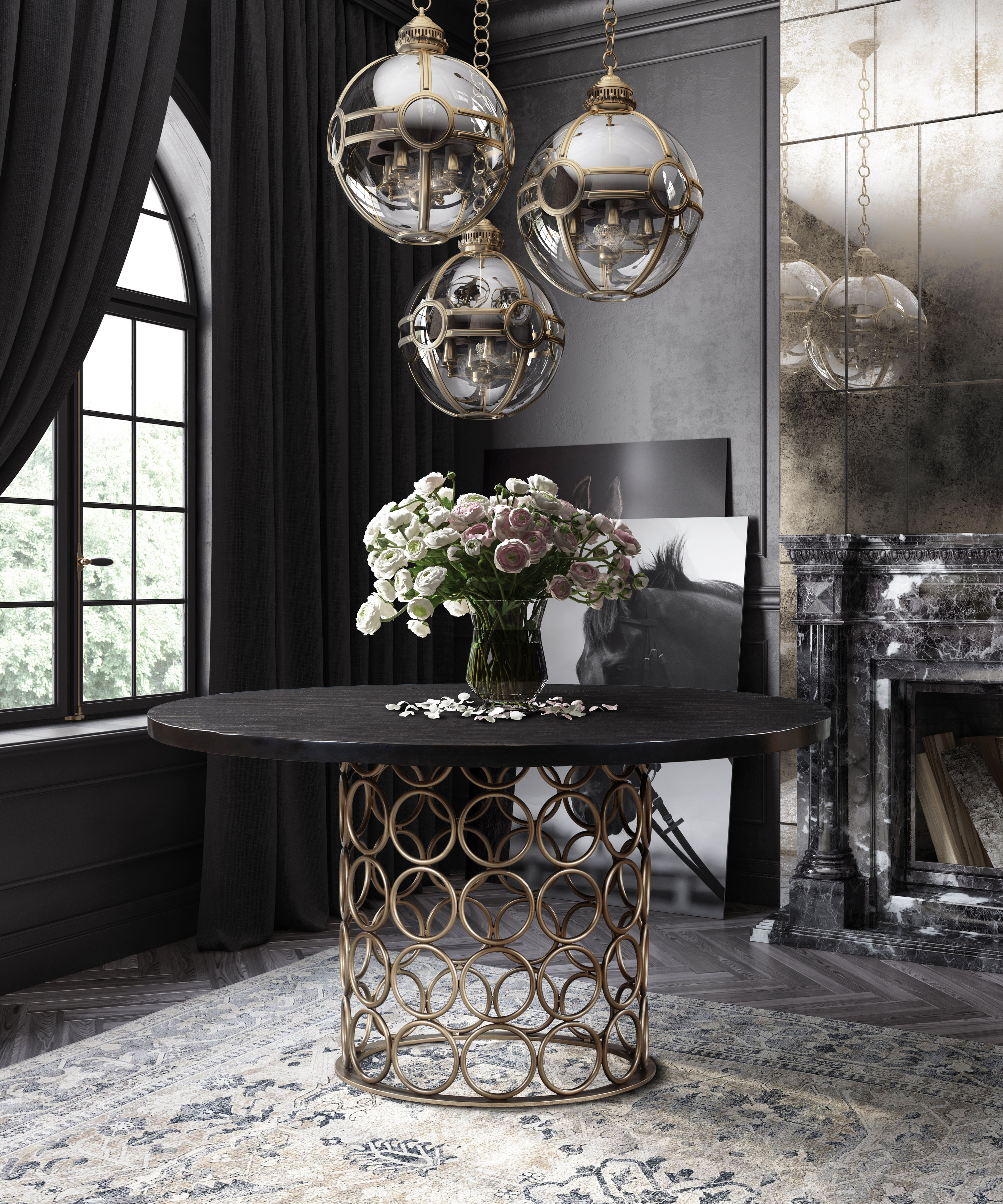 Valentina Brass Round Dining Table Tov Furniture
