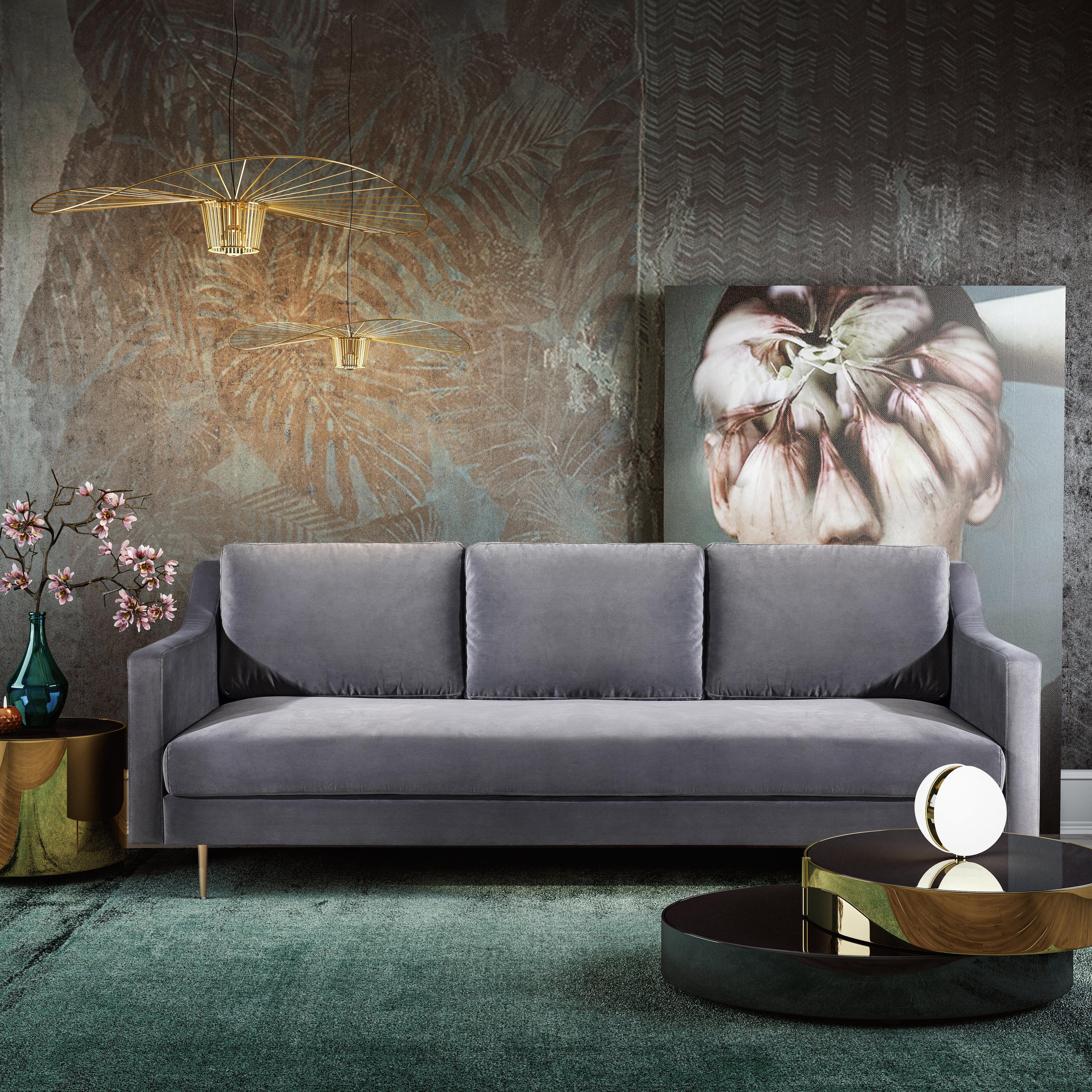 Milan Grey Velvet Sofa Tov Furniture