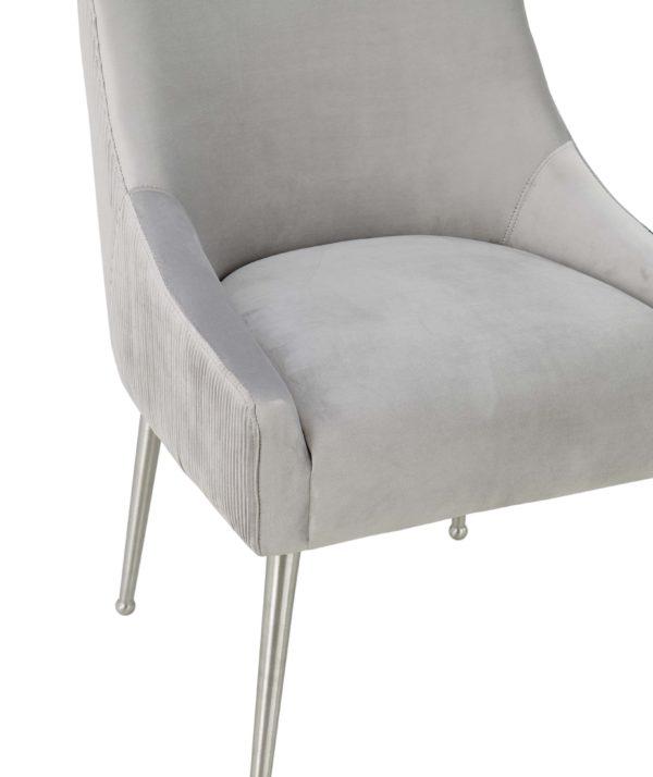 Beatrix Pleated Light Grey Velvet Side Chair - Silver Legs