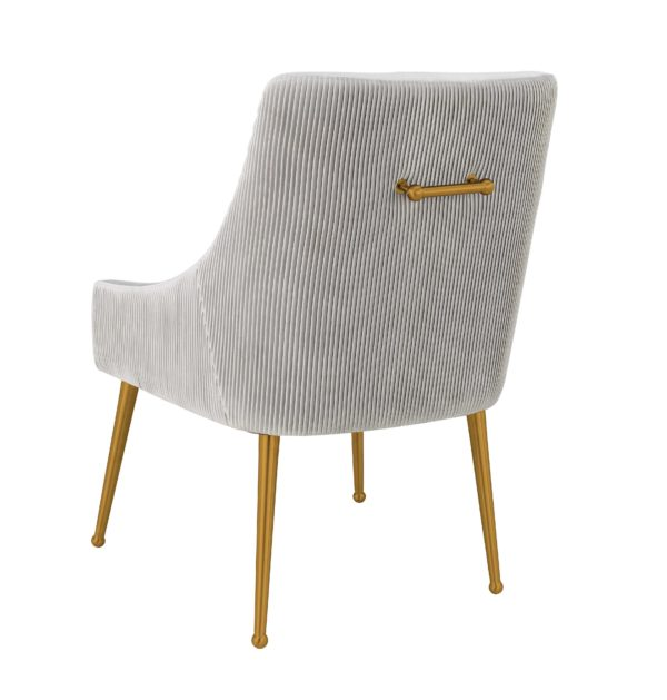 Beatrix Pleated Light Grey Velvet Side Chair