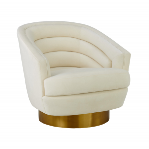 Canyon Cream Velvet Swivel Chair