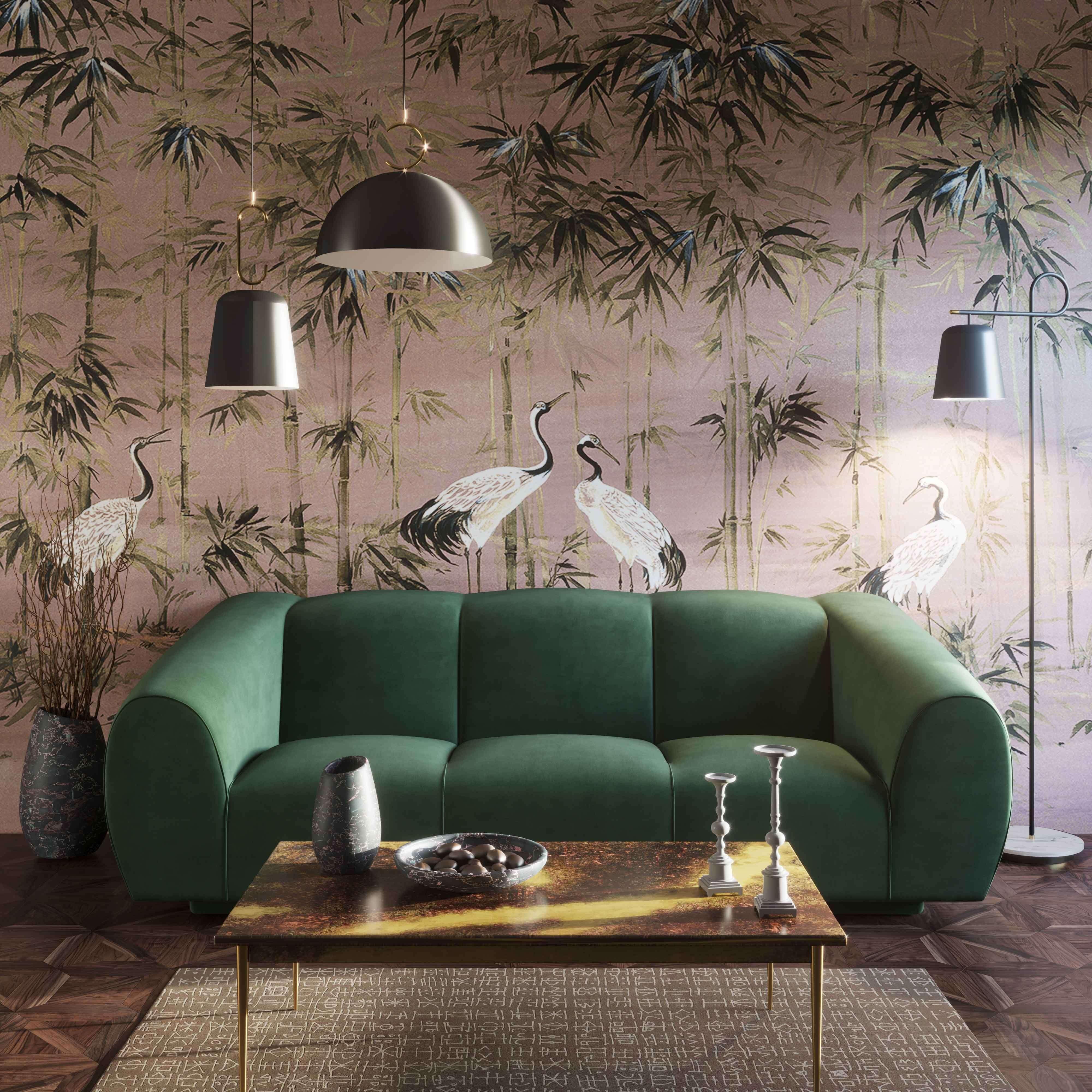 Emmet Forest Green Velvet Sofa Tov Furniture