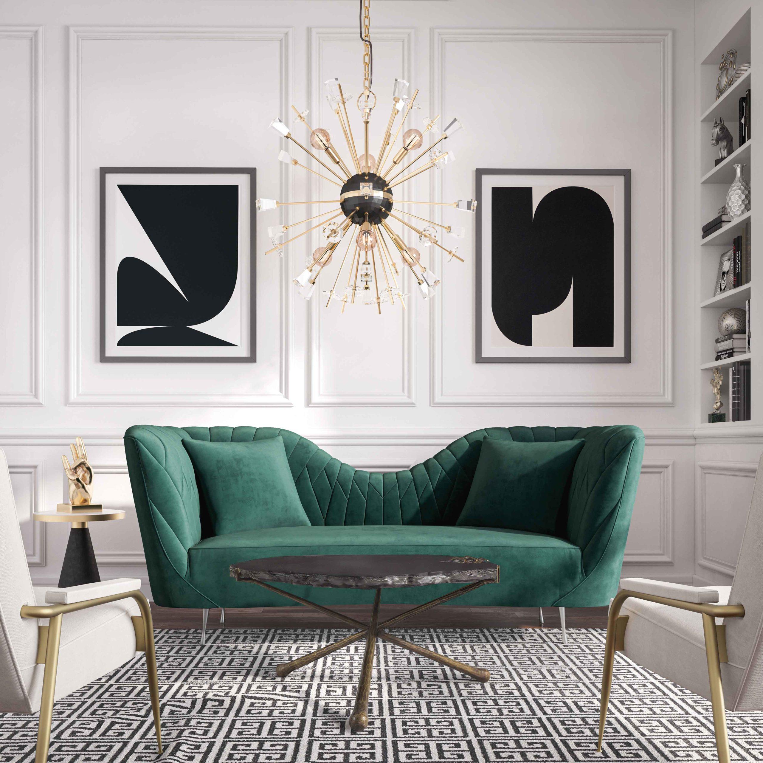 Eva Forest Green Velvet Sofa Tov Furniture