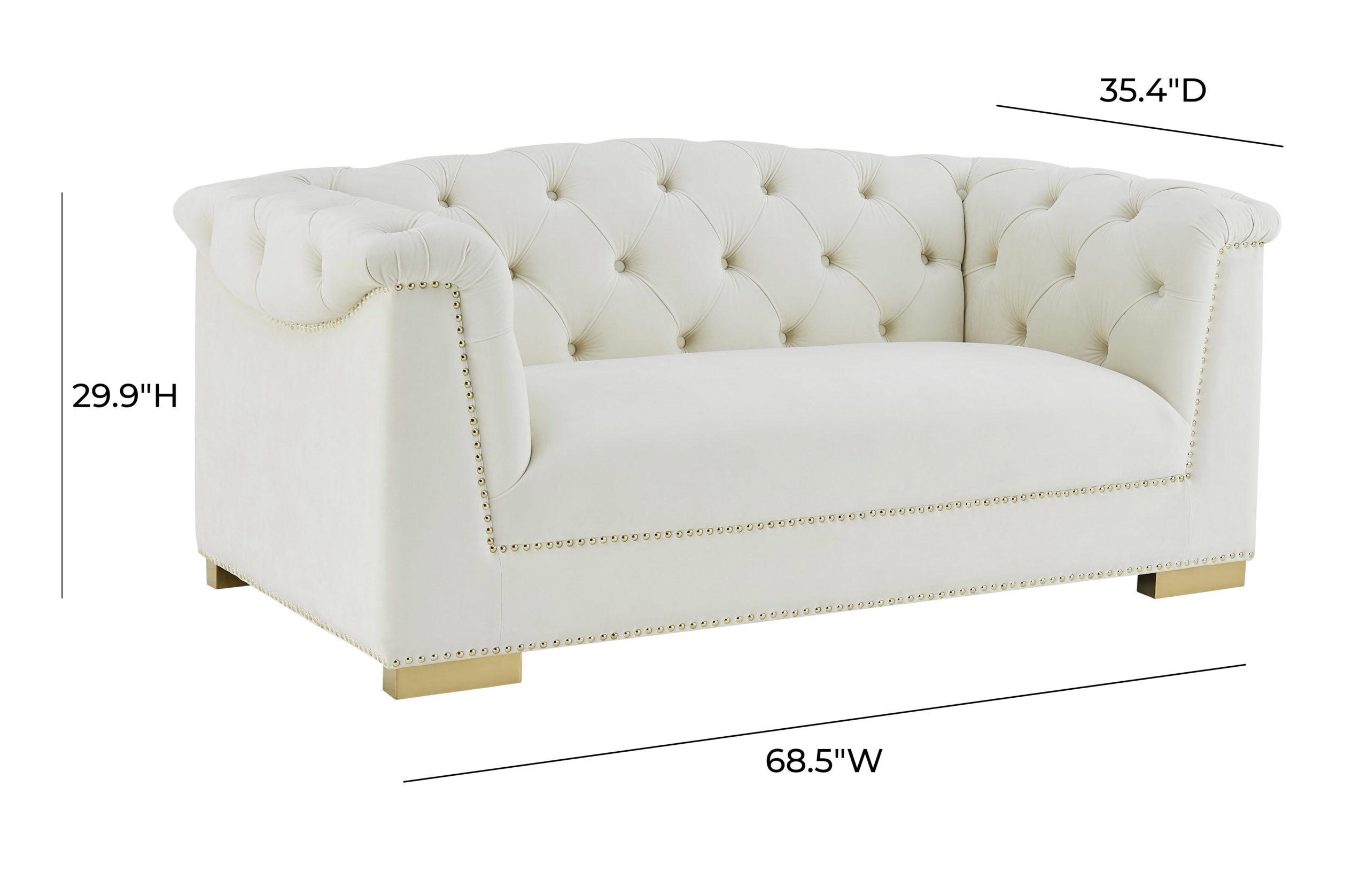 Farah Cream Velvet Loveseat By Inspire Me Home Decor Tov Furniture