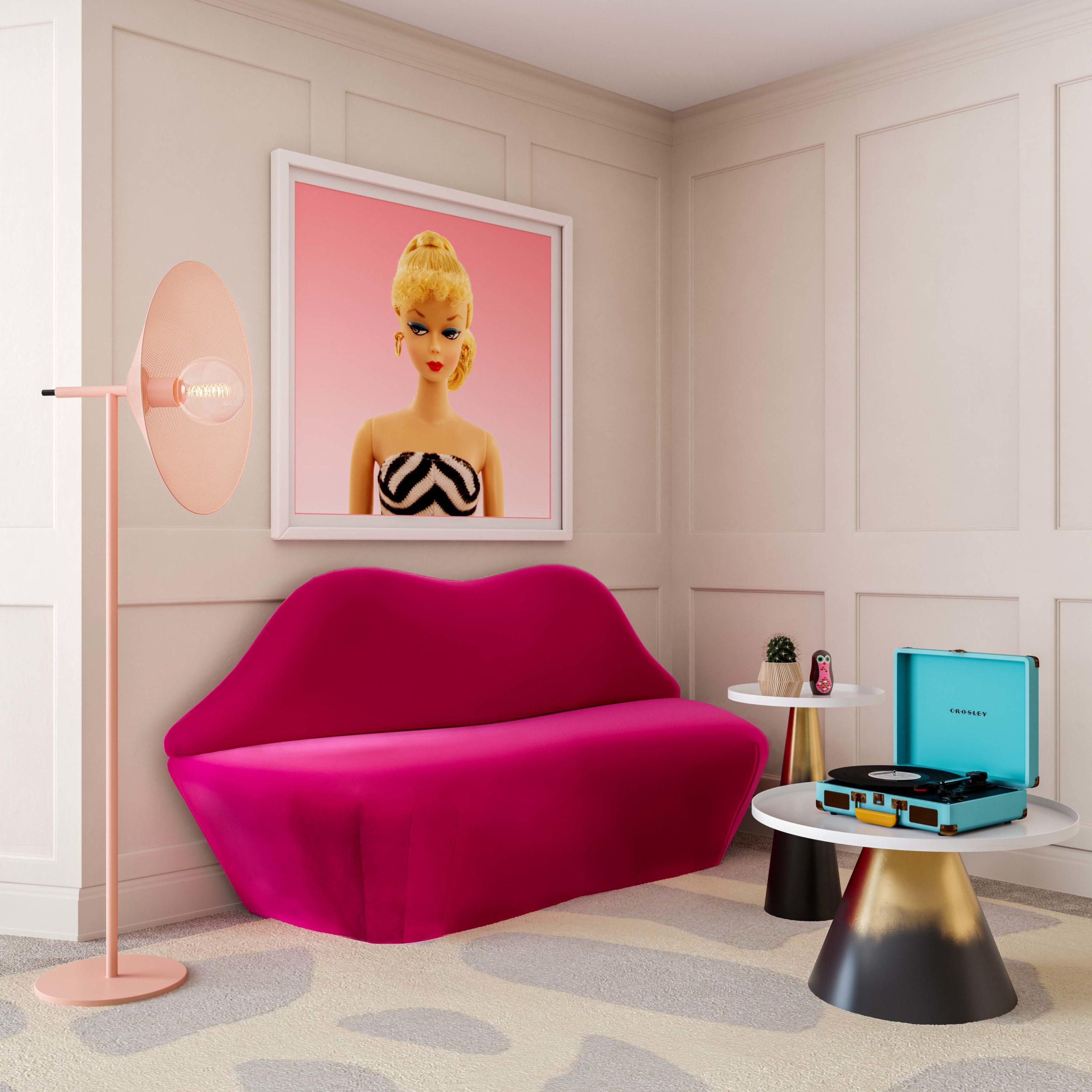 Lips Hot Pink Velvet Settee Tov Furniture