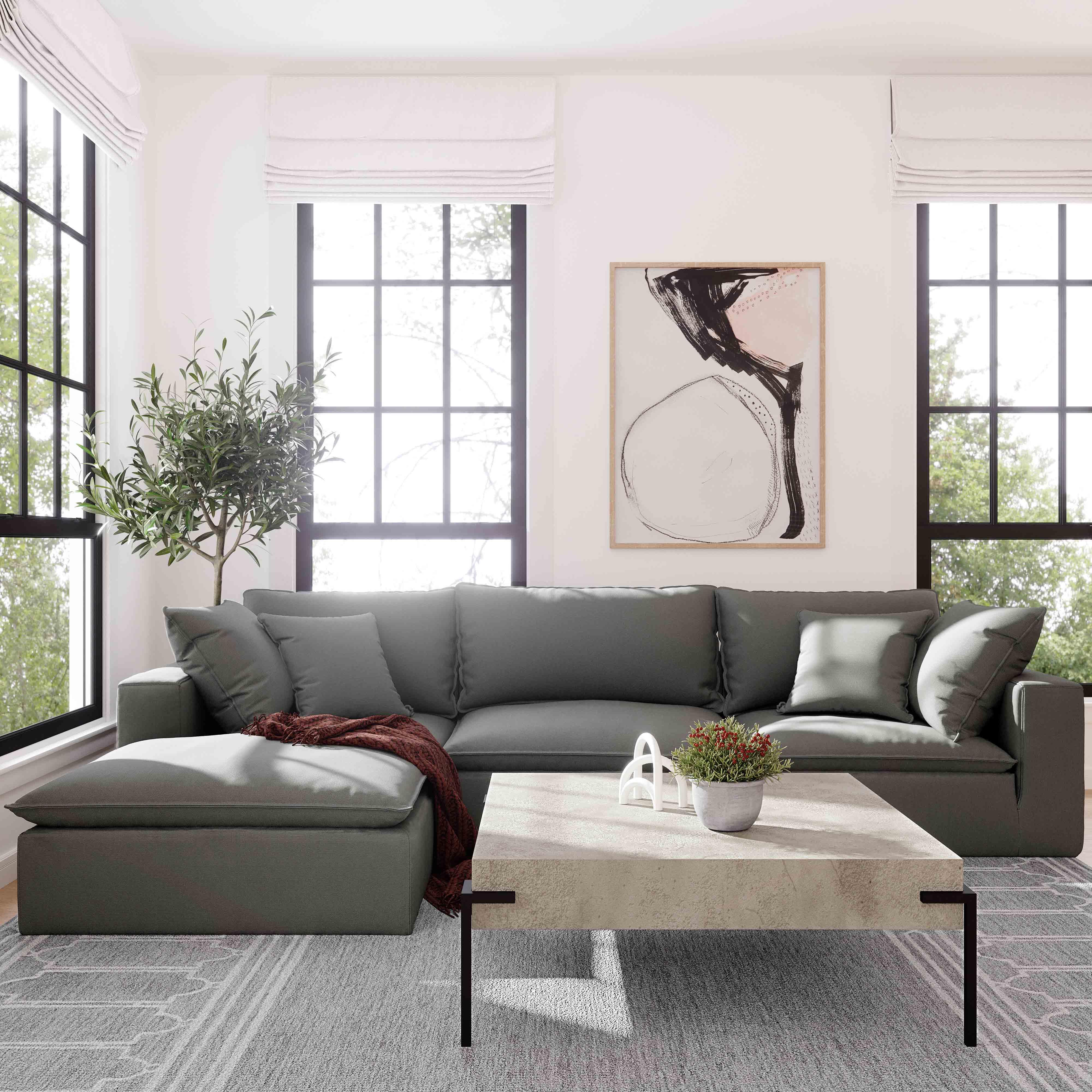 Cali Modular Sofa Slate Tweed 1