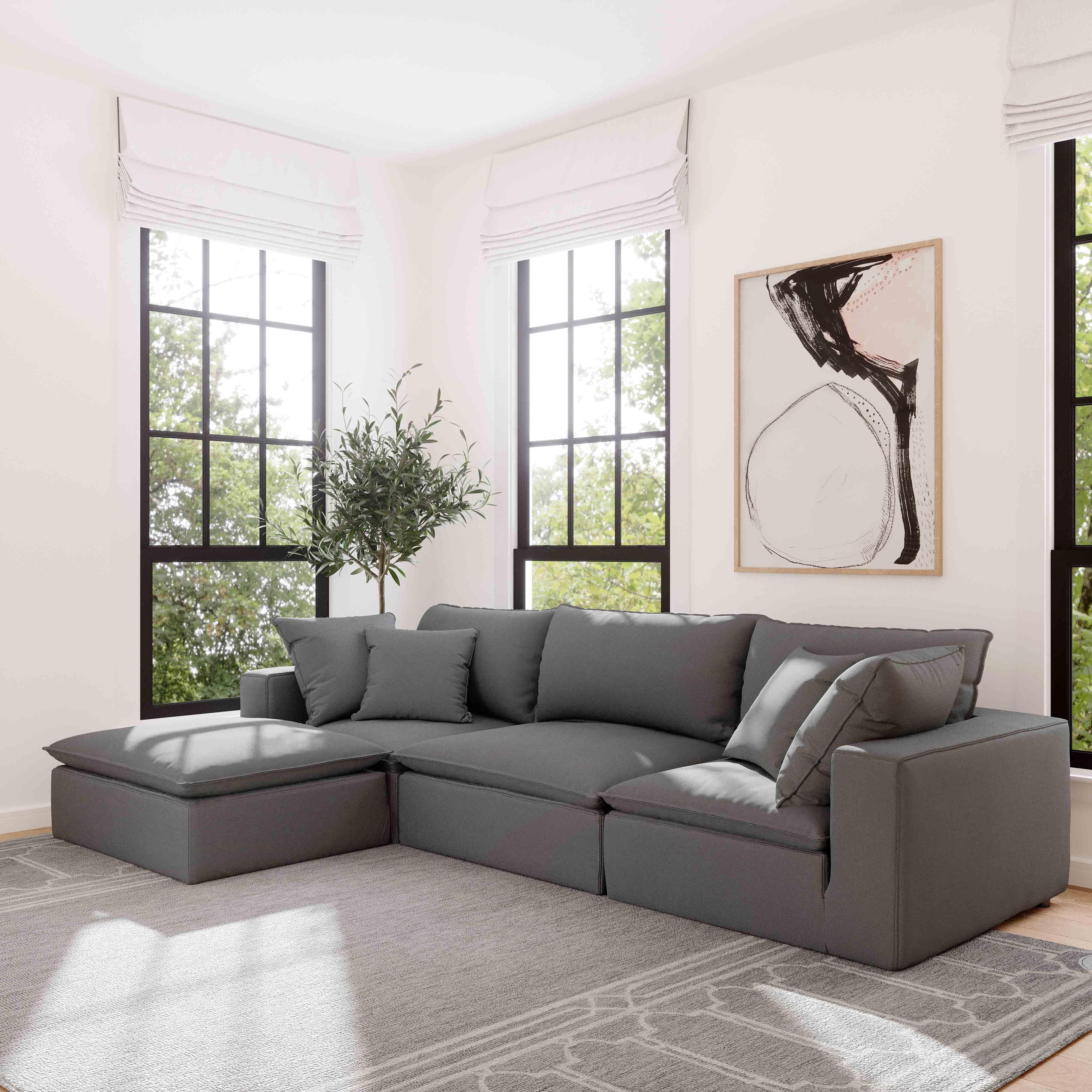 Cali Modular Sofa Slate Tweed 2